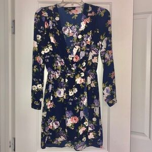 Lulus long sleeve navy floral dress size S